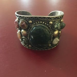 Silver cuff bracelet with semi precious stones